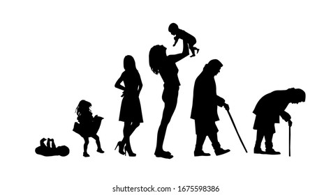 Silhouettes of people. The cycle of life. Silhouettes of women from birth to old age. Vector illustration