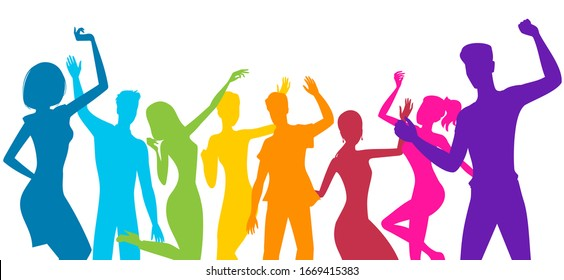 silhouettes of people dancing at fun party