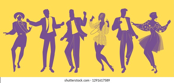 Silhouettes of people dancing new wave music wearing clothes in the style of the 80s
