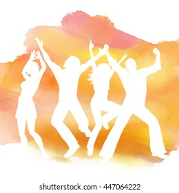Silhouettes of people dancing on a watercolor background