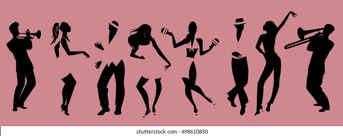 Silhouettes of people dancing salsa and musicians playing latin music