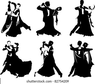 silhouettes of people dancing the waltz (vector illustration);