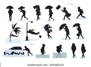 silhouettes of people during extreme bad weather conditions, walking running during strong rain wind, hail, tsunami, storm, blizzard, flood graphic