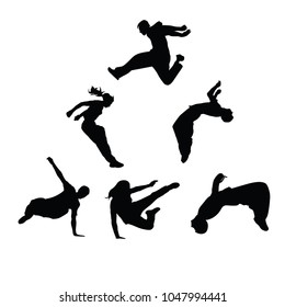 Silhouettes of people engaged in parkour. Sports guys and girls. Vector silhouettes on white background.