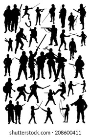 Silhouettes of People Fighting