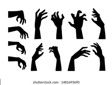 Silhouettes of people hand in horror pose like a Zombie isolated on white. Graphic resource for decorate in Halloween theme.