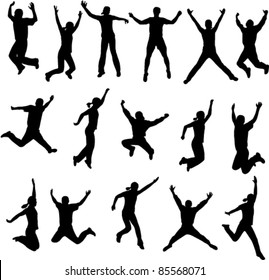 silhouettes of people jumping