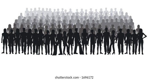 Silhouettes of people - large crowd
