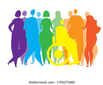Silhouettes of people, men, women, disabled people in a wheelchair as an end to the inclusiveness of the lgbtq community, pride, rainbow colors. Vector stock illustration with homosexuals isolated