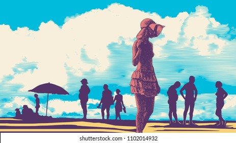 Silhouettes Of People On The Beach, Hand Drawn Background In Engraving Style. aspect ratio 16:9. vector illustration