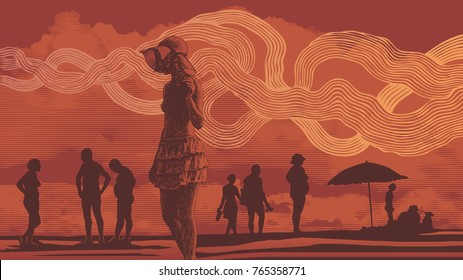 Silhouettes Of People On The Beach, Sunset, Clouds And A Romantic Mood. Hand Drawn Background In Engraving Style. aspect ratio 16:9. vector illustration
