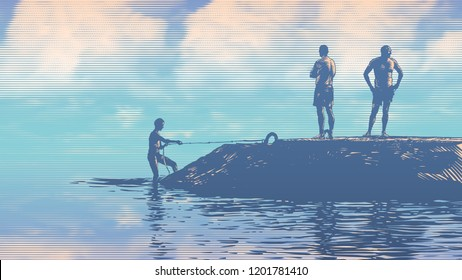 Silhouettes of people on the pier. Vacationers bathe and sunbathe. Drawing Style. Vector Illustration. aspect ratio 16:9