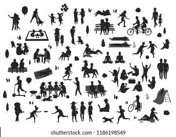 silhouettes of people in the park outdoor scenes set , men women children play, relax, dance, eat, talk ride bikes read
