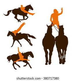 Silhouettes of people practicing trick riding on horses