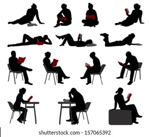 silhouettes of people reading books