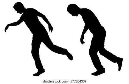 silhouettes of people stumbling