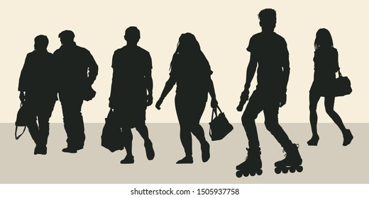 Silhouettes of people in a summer city. Design elements set. Vector Illustration.