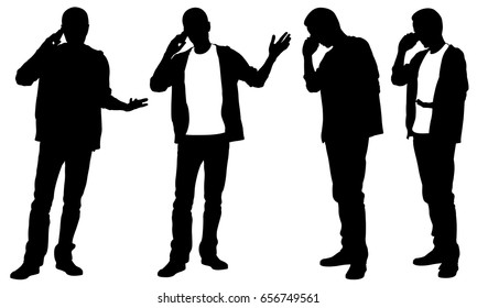 silhouettes of people talking on the phone