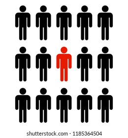 the silhouettes of the people in the team are black and one silhouette is red which is different