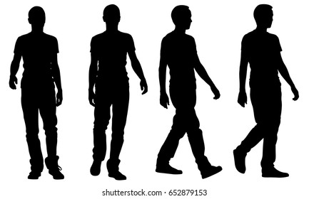 silhouettes of people walking isolated