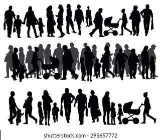 Silhouettes of people walking on the street, people motion, urban sidewalk, busy city street, vector illustration