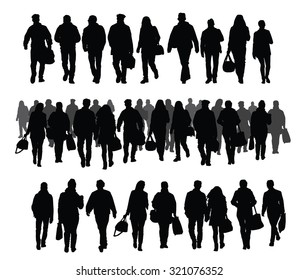 Silhouettes of people walking on street, crowd of people, group of people, people motion, urban sidewalk, busy city street, vector illustration