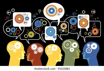 silhouettes of people's heads with gears and speech bubbles. Teamwork of people in the business  world