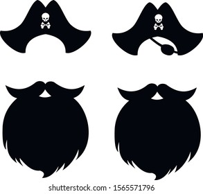 Silhouettes of a pirate beard and hats.Black isolated image on a white background.