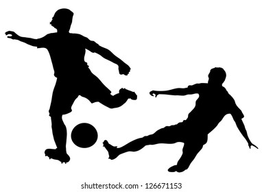 silhouettes of players in soccer