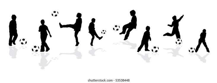 silhouettes playing football
