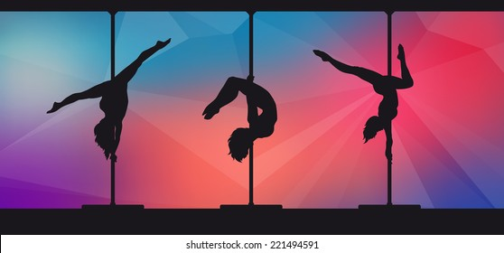 Silhouettes of pole dancers on abstract background