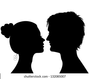 Silhouettes of a profile of a head of the young man and the girl