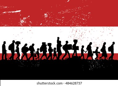 Silhouettes of refugees and migrants walking along the road with flag of Austria as a background, vector