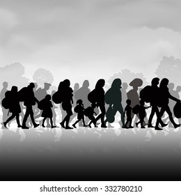 Silhouettes of refugees people searching new homes or life due to persecution. Vector illustration