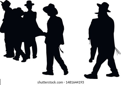 Silhouettes of religious Jews going to the synagogue. Collection. Jew in a traditional costume. Hasid in a hat. Isolated vector illustration Black on white.