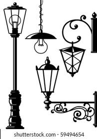 Silhouettes of retro lanterns (street lamps)