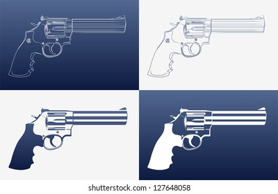 Silhouettes of revolvers (4 variation)
