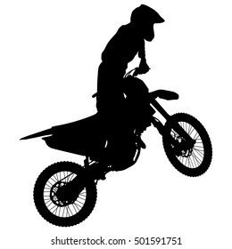 Silhouettes Rider participates motocross championship Vector illustration.