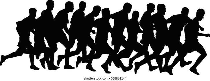 silhouettes of runners