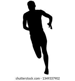 Silhouettes Runners sprint men on white background