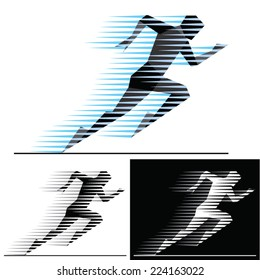 Silhouettes of running athletes with  motion trails - geometric style.