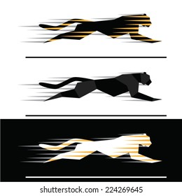 Silhouettes of running big felines with motion trails  - geometric style.