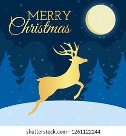 silhouettes of running deer. Christmas deer. Leaping deer Santa.