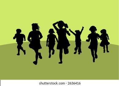 Silhouettes of running little girls.
