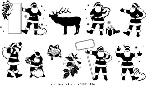Silhouettes of Santa Claus with Sign, vector illustration