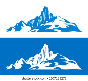 Silhouettes of Scandinavian Mountains isolated on blue and white. Flat element design for travel or Hiking and Climbing sport illustrations.