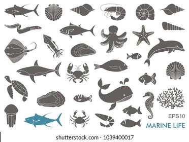 Silhouettes of sea inhabitants. Vector flat illustration