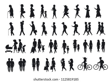 silhouettes set of people walking.family couples, parents, man and woman different age generation walk with bikes, smartphones, eat, texting, talking, side back front views isolated vector scenes
