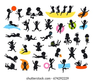 silhouettes set of summer time children on the beach swimming diving jumping playing ball, make sand castle, snorkel, slide on tubes, floating on inflatable mattress ring, running, riding banana boat