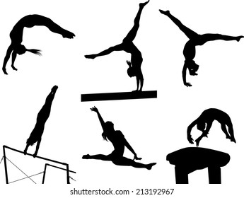 Silhouettes of several gymnastic moves.